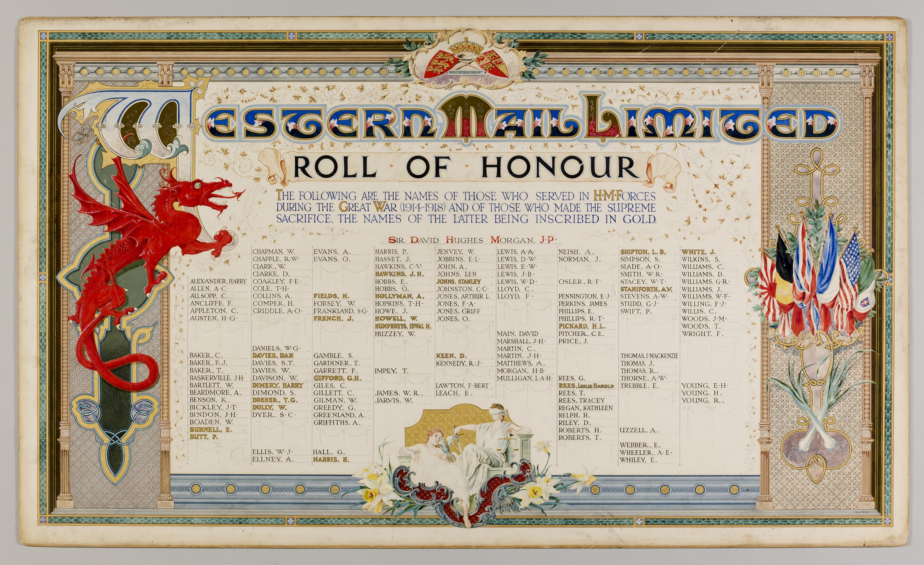 Western Mail Ltd WWI Roll of Honour