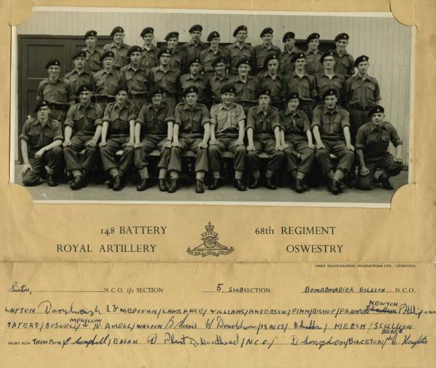 148 Battery 68th Regiment Royal Artillery Oswestry