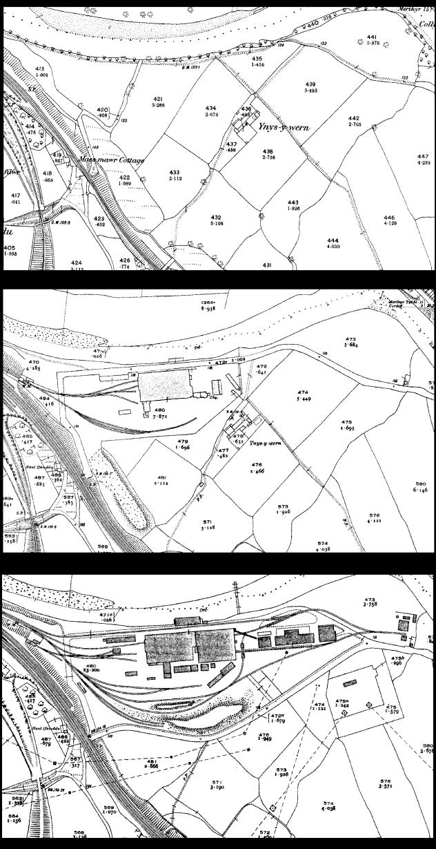 Ordnance Survey (OS) mapping extracts showing changes over