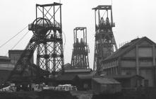 Black and White Film Negative of Coal Mining