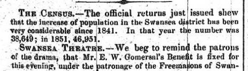 1851 Swansea census – newspaper articles and...