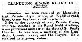 Llandudno Singer Killed in Action - North Wales...