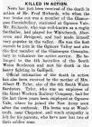 Killed in Action - Glamorgan Gazette 17-09-1915