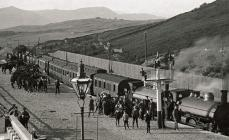 Soldiers and horses at Trawsfynydd railway...