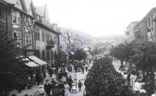 Military March through Llanidloes c1910-1920