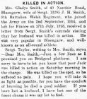 Killed in Action - Glamorgan Gazette 08-10-1915