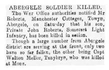 Abergele Soldier Killed - Denbighshire Free...