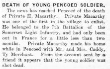 Death of Young Pencoed Soldier - Glamorgan...
