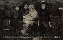 Children at the scene of the Senghenydd pit...