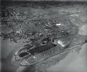 Cardiff: the industrial port. An aerial view...