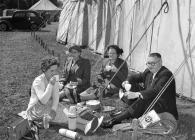 Enjoying a picnic, Aberystwyth Eisteddfod, 1952