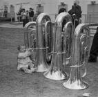 Trying to play to the horn, Bala Eisteddfod, 1967