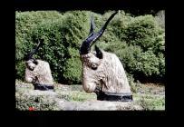 Goat statues Cyfarthfa Castle