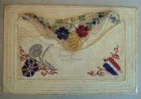 Embroidered cards sent from France by George...