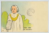 Postcard featuring cartoon of Hwfa Môn, the...