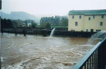 River Usk close to flooding in Brecon