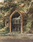 Painting of the font at Plas Newydd, c.1835