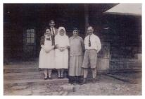 Five Welsh missionaries in Lushai village, India