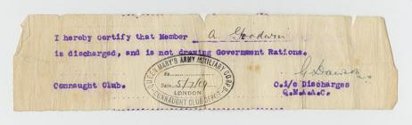 Discharge note - Queen Mary's Auxiliary Corps