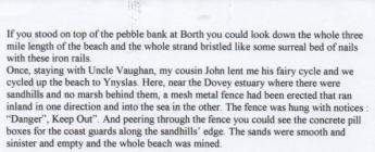 Angus Snow's recollections of Borth Beach...
