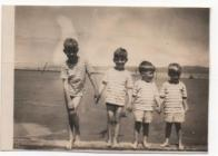 Angus Snow and his brothers at Borth beach in 1943