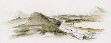 Rhiwbach tramway crossing Llyn Bowydd dam, 2008