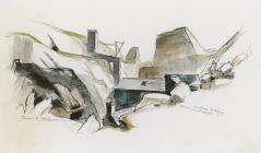 Maenofferen quarry - view of winding house, 1999