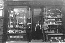 Conti brothers outside first cafe in Ystradgynlais