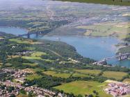 Britannia & Telford bridges over the Menai...