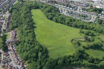 Aerial photo showing Caerau Hillfort