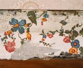 Detail of early wallpaper at  Plas Llanerchaeron