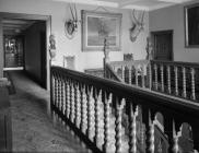 Broughton Hall, staircase and landing, 1956
