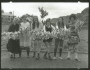 Group of girls with pom poms, Blaenau Ffestiniog