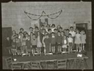 School children on stage, Blaenau Ffestiniog