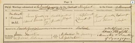 Marriage register, Synagogue, Llanarth Street
