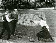 Miss Rita Morgan Richardson fencing with her...