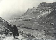 Mrs Williams walking up corkscrew hill c1940