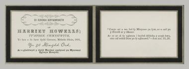 Memorial Card details for Harriet Howells