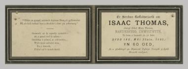 Memorial Card details for Isaac Thomas