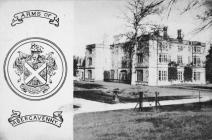 Postcard showing Llanover House and coat of arms