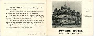 The Towers Hotel Llandudno brochure 1951