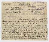 Memorandum, Hlobane Colliery, 1921