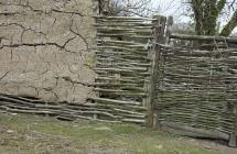 Section of wattle and daub wall at Castell...