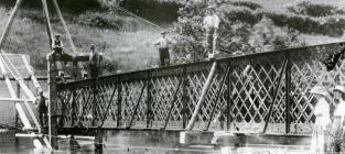 Constructing a new footbridge across the River...