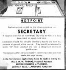 Experienced Secretary Wanted, Hotpoint 1974