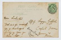 Reverse of postcard of T.D. Griffiths' shop