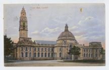 Postcard showing Town Hall, Cardiff, pre 1905