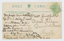 Reverse of postcard showing Town Hall, Cardiff