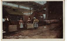 Postcard of Douglas Bank colliery girls
