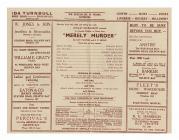 Rhaglen 'Merely Murder', Theatr Un Cwmni The...